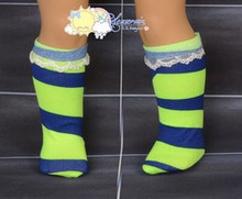 "Lime Green/Dark Blue Irregular Stripe Lace Trim Socks for 18"" American Girl doll"