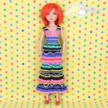 "Doll Clothes Outfit Rainbow Stripes Dress for Tyler/Ellowyne/14"" Kish/Unoa MSD"