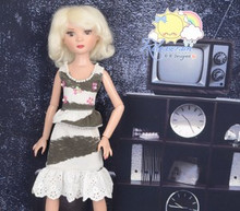 Doll Clothes Outfit White/Grey Shades Sequined Dress for Tyler/Ellowyne/Unoa MSD
