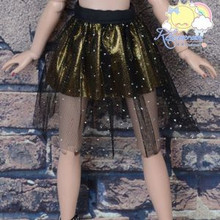 Doll Clothes Sil Glitter Dots Mesh Gold Skirt for Ellowyne Wilde MSD BJD Dollfie