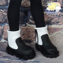 Doll Shoes 2-Tone Boots Black with White for MSD BJD Dollfie Kaye Wiggs dolls