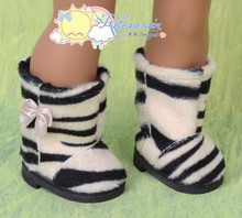 """Doll Shoes Fluffy Faux Fur Boots Beige with Black Tiger for 18"""" American Girl"""