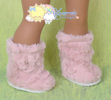 """Doll Shoes Fluffy Fuzzy Faux Fur Boots Shaggy Dusty Pink for 18"""" American Girl"""