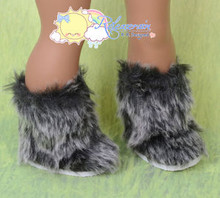 """Doll Shoes Fluffy Fuzzy Faux Fur Boots Shaggy Grey/Black for 18"""" American Girl"""