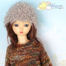 Khaki Shaggy Fuzzy Hairy Beanie Ski Cap Hat for SD BJD Dollfie, Pullip Dolls
