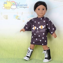 "Doll Clothes Cat Face Polka Dots Chocolate Shirt Dress for 18"" American Girl"