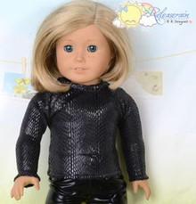 "Doll Clothes Black Faux Snakeskin Long Sleeves Tee Shirt for 18"" American Girl"