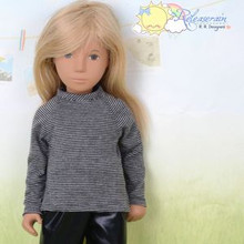 "Doll Clothes Grey/Black Stripes Long Sleeves Tee T-Shirt for 16"" Sasha Dolls"