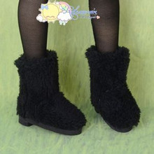Doll Shoes Fluffy Furry Fuzzy Boots Shaggy Black for SD Girl Dollfie BJD Dolls