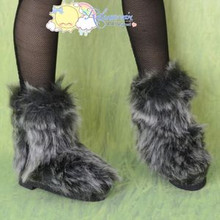 Doll Shoes Fluffy Furry Fuzzy Boots Shaggy Grey/Black for SD Girl Dollfie BJD