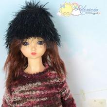 Black Metallic Glittered Eyelash Beanie Cap Hat for SD BJD Dollfie, Pullip Dolls