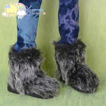 Doll Shoes Fluffy Furry Boots Grey/Black for SD13 Boy, Rainy Girl, Unoss Dollfie BJD Dolls