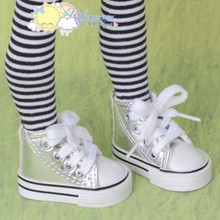 "Doll Shoes Ankle Sneakers Boots L Silver for MSD BJD Dollfie Unoa 17""Tonner Matt"