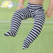 "Doll Clothes Pantyhose Knit Tights Blk/W Stripes for 8"" Kish Riley 7.5"" Riki"