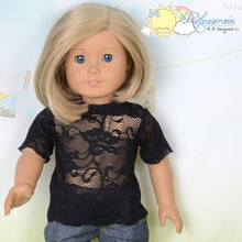 "Doll Clothes Black Lace Short Sleeves Tee Shirt for 18"" American Girl Dolls"