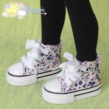 "Doll Shoes Ankle Sneakers Boots Flower Purple for MSD BJD Dollfie 17""Tonner Matt"