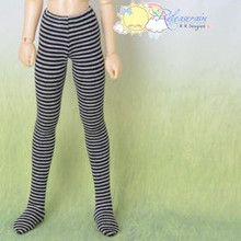 Doll Clothes Pantyhose Tights Black/Grey Stripes for MSD Kaye Wiggs Minifee BJD