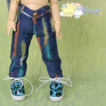 Doll Clothes Graffiti Dash Denim Jeans Pants for Yo-SD Littlefee BJD Dollfie