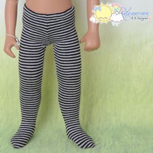 "Doll Clothes Knit Pantyhose Stockings Tights Black/Grey Stripes for 16"" Sasha"