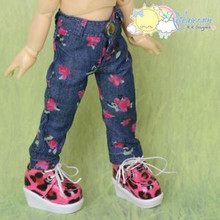 Doll Clothes Ink Paint Flowers Navy Blue Jeans Pants for Yo-SD BJD Dollfie Dolls