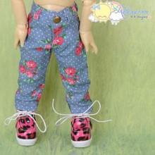 Doll Clothes Flowers Polka Dots Denim Blue Jeans for Yo-SD Littlefee BJD Dollfie