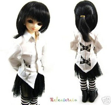 Black Half Ponytail 7-8 Doll Wig #598 for MSD BJD Dollfie Ellowyne Wilde Dolls