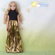 Doll Clothes Black Turtleneck/Gold Dress for Tyler Ellowyne Wilde Unoa MSD BJD