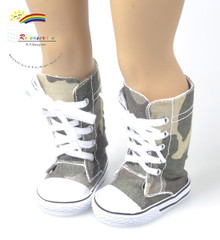 """Doll Shoes Knee High Lace-Up Sneakers Boots Camouflage for 18"""" American Girl"""
