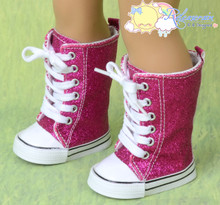 """Doll Shoes Knee High Lace-Up Sneakers Boots Glitter Fuchsia for 18"""" American Girl"""