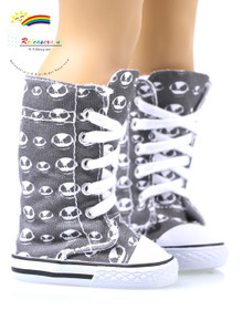 """Doll Shoes Knee High Lace-Up Sneakers Boots Alien Head for 18"""" American Girl"""