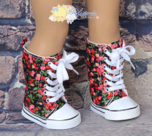 """Doll Shoes Knee High Lace-Up Sneakers Boots Cherries on Black for 18"""" American Girl"""