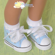 "Doll Shoes Ankle Cons Sneakers Boots Light Blue for MSD BJD Kaye Wiggs 16"" Sasha"