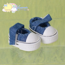 "Doll Shoes Mary Jane Sneakers Washed Denim Indigo Blue for Lati Yellow Pukifee BJD 8"" Kish Riley,Riki Blythe Dolls"