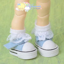 "Doll Shoes Mary Jane Sneakers Washed Denim Light Blue for Lati Yellow Pukifee BJD 8"" Kish Riley,Riki Blythe Dolls"