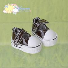 "Doll Shoes Mary Jane Sneakers Patent Dark Chocolate for Lati Yellow Pukifee BJD 8"" Kish Riley,Riki Blythe Dolls"
