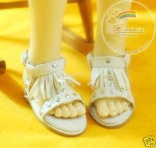 Dollfie MSD Shoes Suede Fringe T-Strap Sandals White