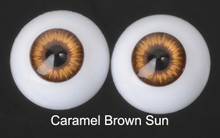 Doll Acrylic Eyes Half Round Caramel Brown Sun #R004 18mm for BJD Dollfie, Reborn Dolls