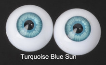 Doll Acrylic Eyes Half Round Turquoise Blue Sun #R016 18mm for BJD Dollfie, Reborn Dolls