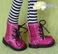 "Doll Shoes Martin Lace-Up Boots Glitter Fuchsia for Lati Yellow Pukifee BJD 8"" Kish Riley,Riki Blythe Dolls"