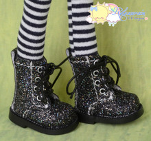 "Doll Shoes Martin Lace-Up Boots Glitter Black for Lati Yellow Pukifee BJD 8"" Kish Riley,Riki Blythe Dolls"