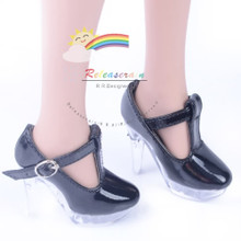 """Clear Stiletto T-Strap Shoes Patent Black for 22"""" Tonner American Model doll"""