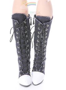 "Knee Heel Sneakers Shoes Boots Denim Black for 22"" Tonner American Model Dolls"