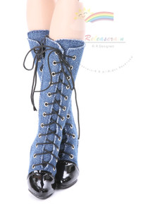"Knee Heel Sneakers Shoes Boots Denim Blue for 22"" Tonner American Model Dolls"