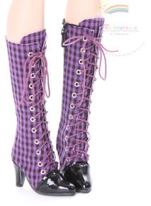 "Knee Heel Sneakers Shoes Boots Purple/Black Checker or 22"" Tonner American Model Dolls"