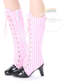 """Knee Heel Sneakers Shoes Boots Pink/White Checker or 22"""" Tonner American Model Dolls"""