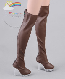 """Clear Heel Shoes Stretch Thigh Boots Brown for 22"""" Tonner American Model Doll"""