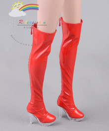 """Clear Heel Shoes Stretch Thigh Boots Patent Red for 22"""" Tonner American Model Doll"""