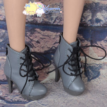 "Platform Heel Shoes Lace-Up Ankle Boots Grey for 22"" Tonner American Model Doll"