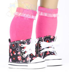 """Cons Canvas Sneakers Shoes Boots Mushroom Firework Black for 18"""" American Girl Dolls"""