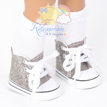"""Cons Sneakers Shoes Boots Grey with Black Vines for 18"""" American Girl Dolls"""